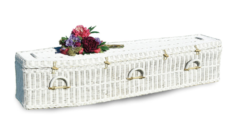 white coffin rattan eco friendly funerals in perth - gift of grace